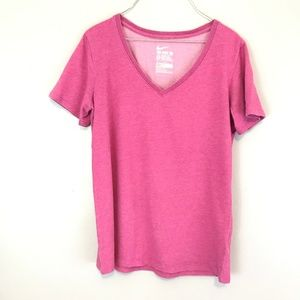 Nike Pink V-Neck Athletic Cut T-Shirt Tee